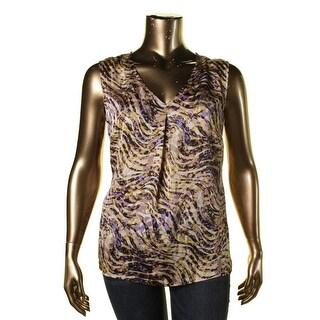 Kasper Womens Plus Pleated V-neck Pullover Top