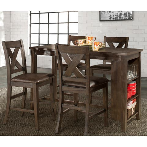 Spencer 5-piece Counter Height Dining Set with X-back Stools