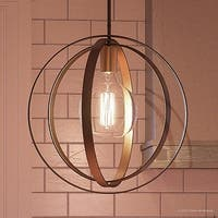 "Luxury Art Deco Hanging Pendant Light, 15""H x 14""W, with Industrial Style, Multi Ring Globe Design, Estate Bronze Finish"