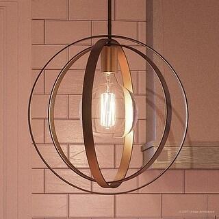 "Luxury Art Deco Hanging Pendant Light, 15""H x 14""W, with Industrial Style, Multi Ring Globe Design, Estate Bronze Finish"