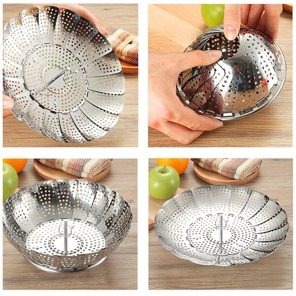 VECELO Stainless Steel Folding Vegetable Steamer Basket