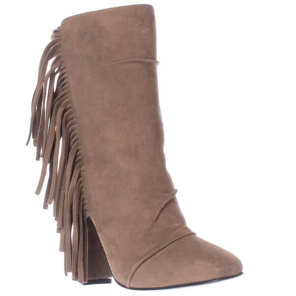 Guiseppe Zanotti Alabama Side Fringe Square Toe Pull On Ankle Boots, Lepre