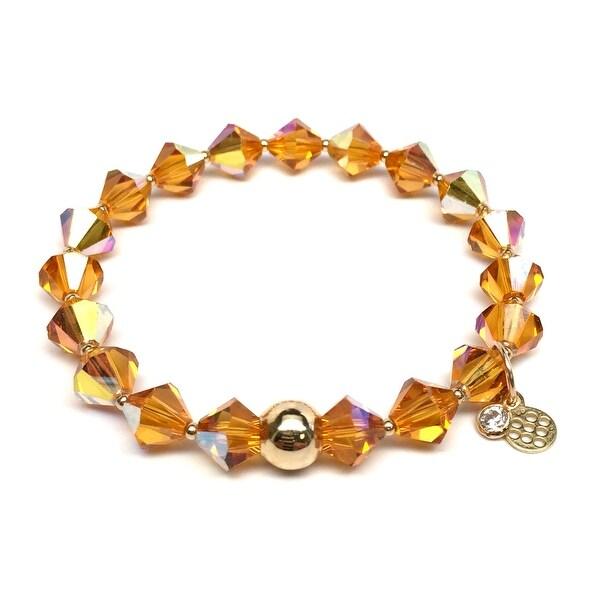 "November Birthstone Color Yellow Crystal Rachel 7"" Bracelet"
