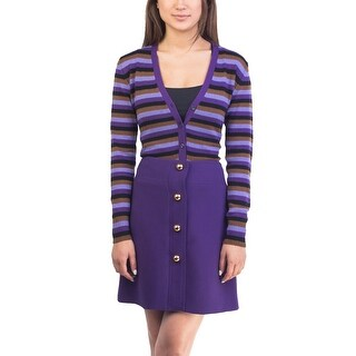 Prada Women's Cashmere Striped Cardigan Purple
