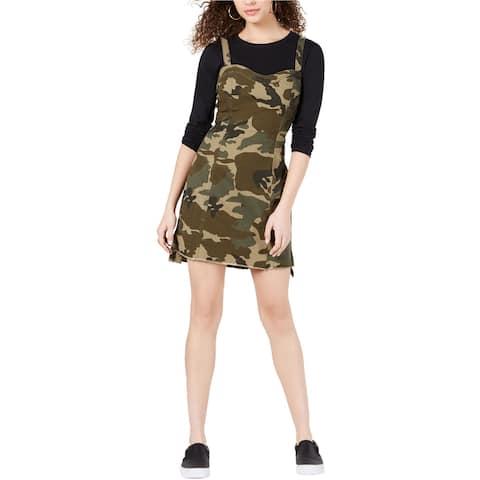 Kendall Kylie Womens Camo Overall Sheath Dress
