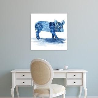 Easy Art Prints Grace Popp's 'Cobalt Farm Animals II' Premium Canvas Art