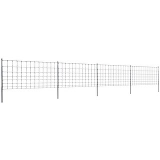 vidaXL Step-In Fence 164' with Posts Galvanized Wire 39.4/8/11.8