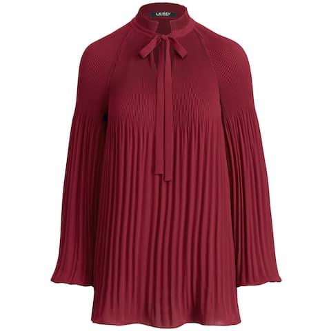 Lauren Ralph Lauren Womens Georgette Tie Neck Top Medium Bordeaux