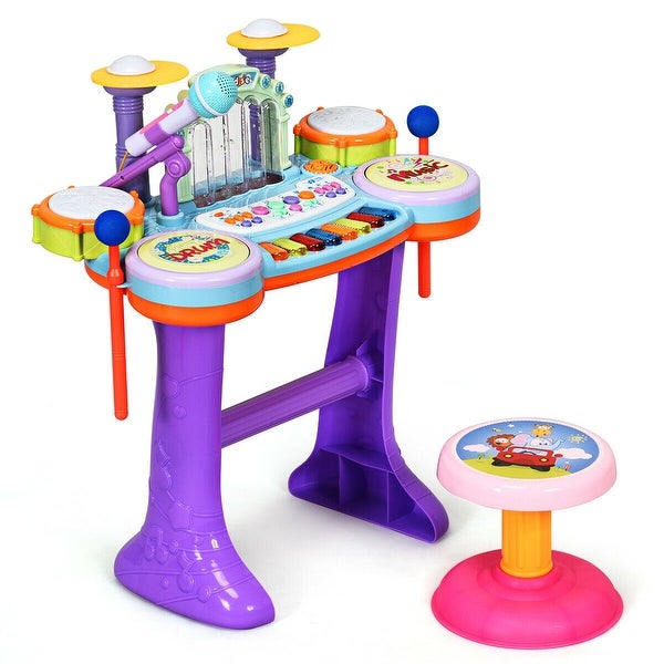 3 in 1 Kids Piano Keyboard Drum Set with Music Fountain. Opens flyout.