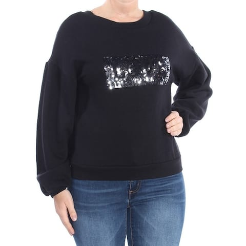 GUESS Womens Black Sequined Love Sweater Size: M