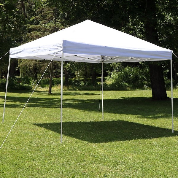 Sunnydaze Quick-Up 10-Foot Straight Leg Canopy with Carrying Bag - White