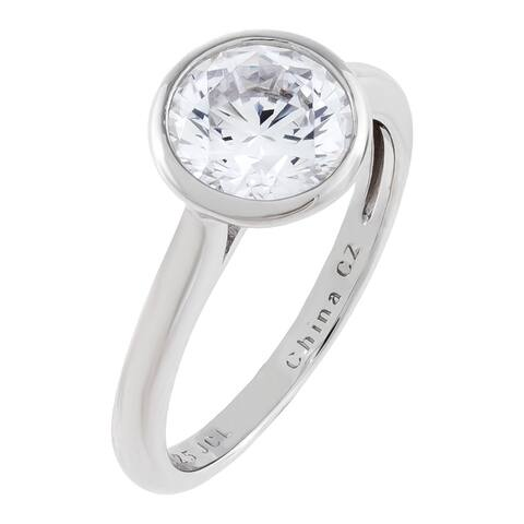 Round-Cut Bezel-Set Cubic Zirconia Solitaire Ring Set, Sterling Silver