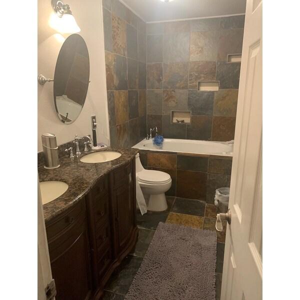 Silkroad Exclusive Granite Stone Top 52 Inch Double Sink Cabinet Bathroom Vanity Overstock 6304583