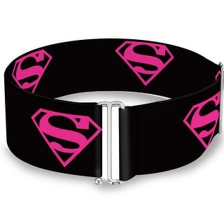 Superman Shield Black Hot Pink Cinch Waist Belt ONE SIZE - One Size Fits most
