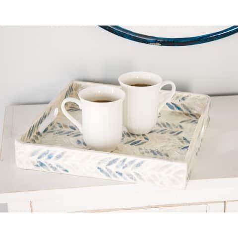 White Shell Coastal Tray (Set of 3) - 16 x 16 x 2