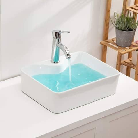 Rectangle Ceramic Bathroom Vessel Sink White