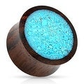 Crushed Turquoise Organic Wood Saddle Fit Plug (Sold Ind.) - Thumbnail 0