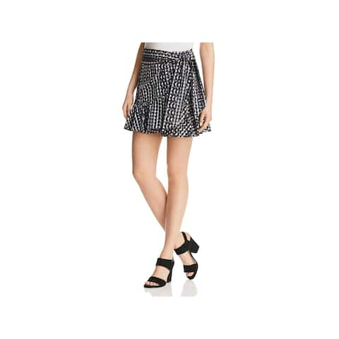 Rebecca Minkoff Womens Alice Mini Skirt Eyelet Faux Wrap - S