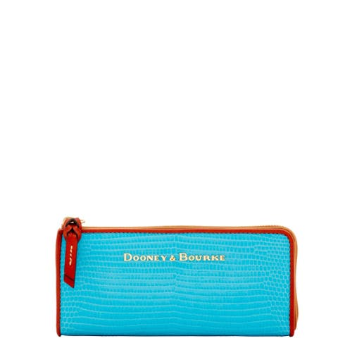 Dooney & Bourke Embossed Lizard Zip Clutch Wallet