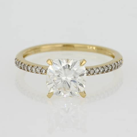 2ct TGW Moissanite and 1/10ct TDW Diamond Engagement Ring in 14k Yellow Gold by Miadora