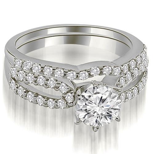 1.39 cttw. 14K White Gold Exquisite Split Shank Round Diamond Bridal Set