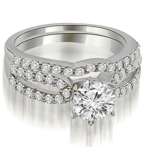 1.64 cttw. 14K White Gold Exquisite Split Shank Round Diamond Bridal Set
