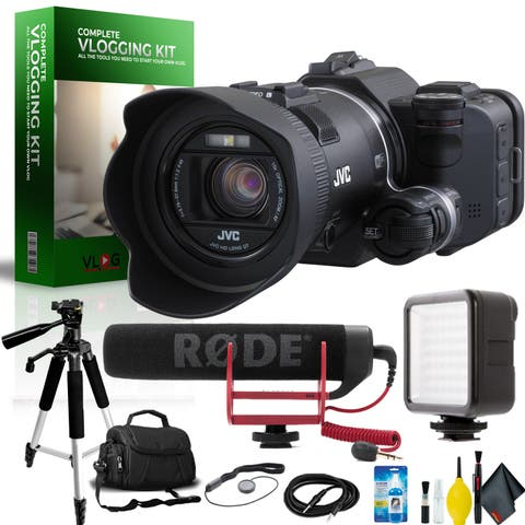 JVC GC-PX100 Full HD Everio Camcorder Complete Vlogging Equipment Kit