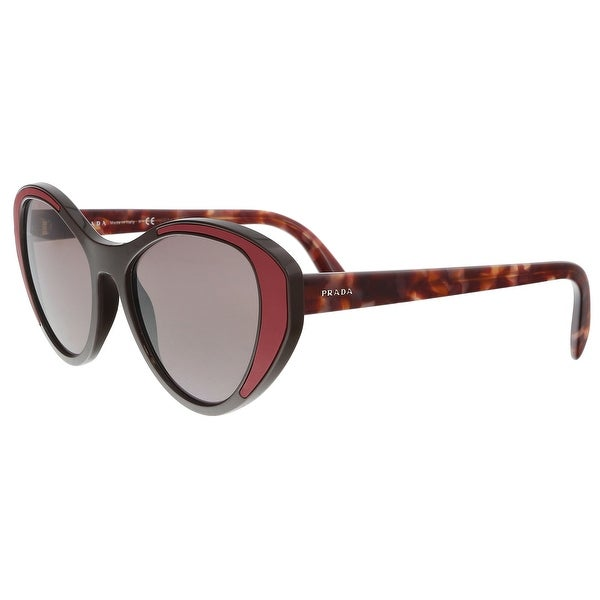 Shop Prada Pr 14us Yeo6x1 Brown Cat Eye Sunglasses 55 18