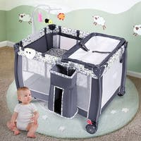 Costway Foldable Travel Baby Playpen Crib Infant Bassinet Bed Mosquito Net Music w/ Bag - as pic