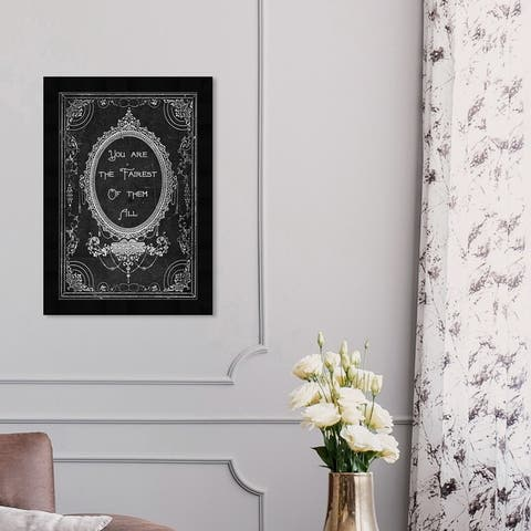 Oliver Gal 'The Fairest' Typography and Quotes Framed Wall Art Prints Family Quotes and Sayings - Black, White