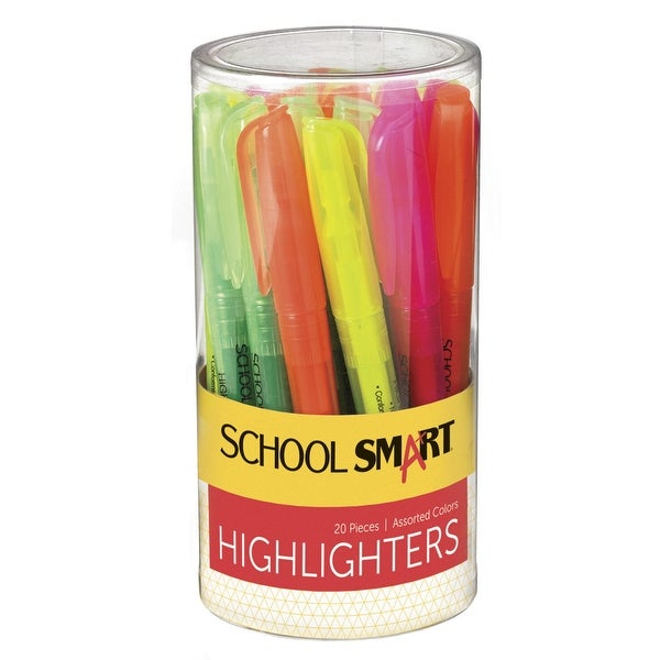 School Smart Highlighter, Chisel Tip, Assorted Colors, Pack of 20