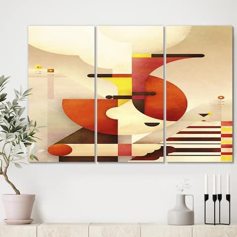 Designart 'All That Jazz' Premium Mid Century Modern Canvas Wall Art - 36x28 - 3 Panels