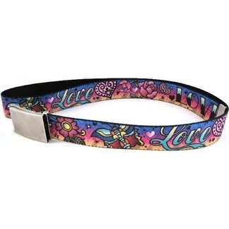 Buckle-Down Web Belt Love Love Tattoo 1.5""