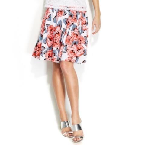 INC International Concepts Women's Floral-Print A-Line Skirt (4) - Sugar Roses - 4