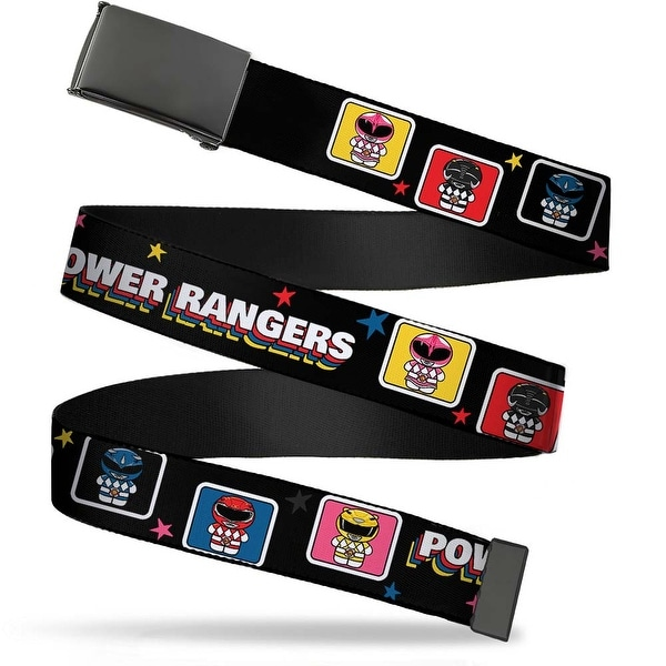 Blank Black Buckle Power Rangers Chibi Blocks W Stars Webbing Web Belt