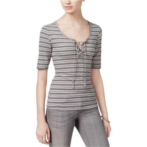 Ultra Flirt Womens Rib-Knit Lace-Up Graphic T-Shirt