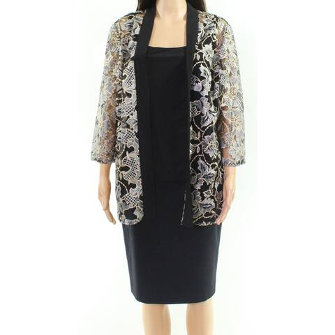 Alex Evenings Womens Black Size Small S Embroidered Floral 2pc Jacket