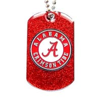 Alabama Crimson Tide Dog Fan Tag Glitter Sparkle Necklace
