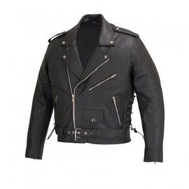 Men Motorcycle Biker Leather Jacket Classic Design Embossed Eagle Black MBJ019