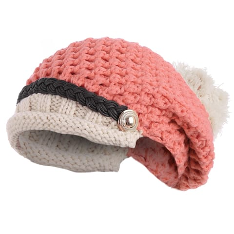 Woman Chic Contrast Color Top Design Winter Knitted Hat