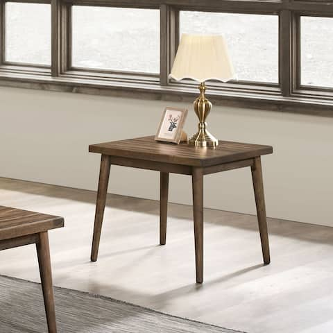 Furniture of America Abi Mid-Century Walnut Solid Wood End Table