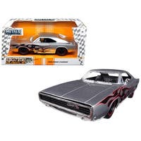 1968 Dodge Charger Silver with Flames Big Time Muscle 1/24 Diecast Model Car by Jada