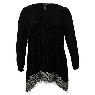 Style & Co Women's Animal Print Scoop Neck Tunic Blouse - Black