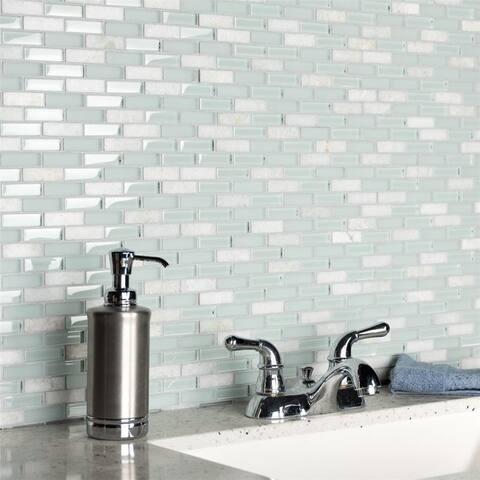 """SomerTile Tessera Subway Ming 10.75"""" x 11.75"""" Glass and Stone Mosaic"""