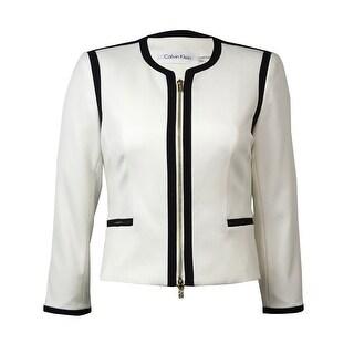 Calvin Klein Women's Zip Front Faux Pocket Blazer