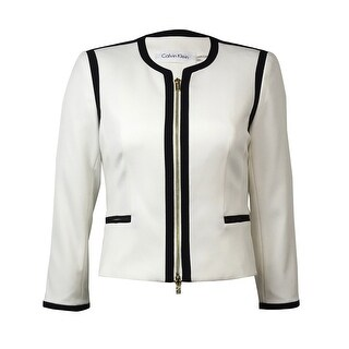 Calvin Klein Women's Zip Front Faux Pocket Blazer - Cream/Black