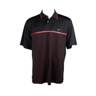 Greg Norman Deep Black Short-Sleeve Pieced Jacquard Polo Shirt S