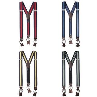 Jacob Alexander Men's Stripes Y-Back Suspenders Braces Convertible Leather Ends Clips