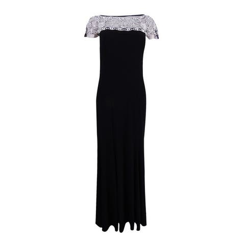 R&M Richards Women's Beaded-Trim A-Line Gown - Black