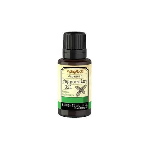 Piping Rock Japanese Peppermint Essential Oil 1/2 oz 15 mL/0.51 fl. oz. Dropper Bottle - Green - 15 ML